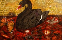 Untitled (Black Swan with Bee Hive)